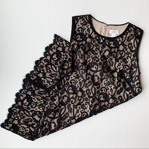 LOFT Black Lace Sleeveless Shift Dress